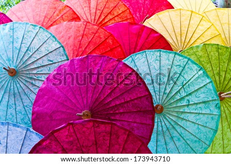 Umbrellas in Chiang Mai, Thailand. - stock photo