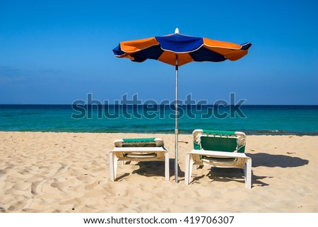 umbrellas on beach, Fuerteventura, Canary Islands, Spain