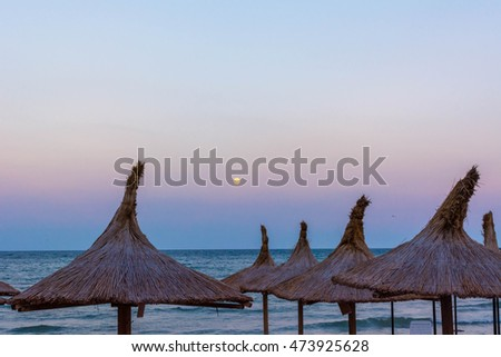 Umbrellas on the beach, Mangalia, Romania