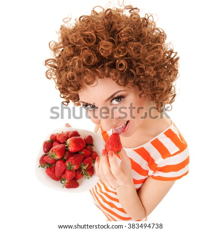 un woman with strawberry on the white background - stock photo