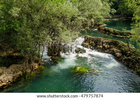 Una river flow, small waterfall in National park Una near Martin Brod - Bosnia and Herzegovina