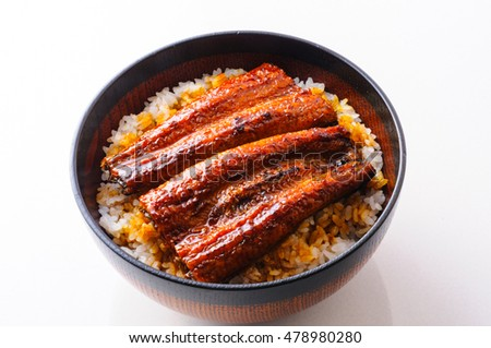 Unagi don, white rice topped with grilled eel