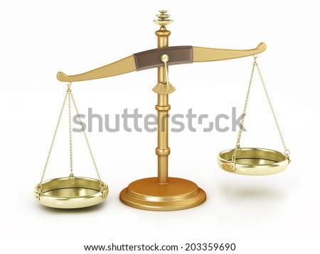 unbalance scale isolated illustration - stock photo