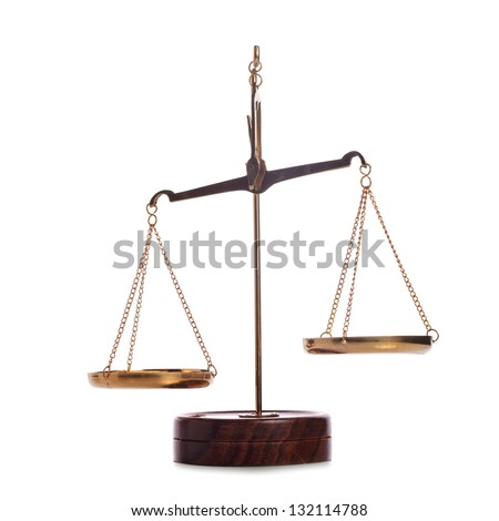 Unbalanced golden vintage scales isolated on white