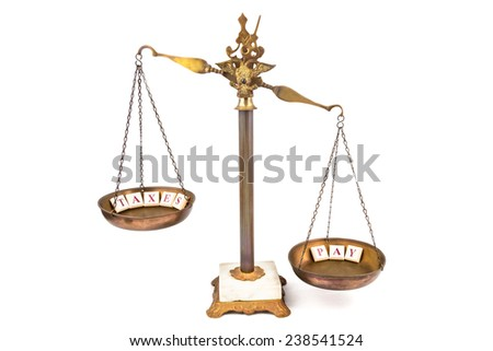 Unbalanced scale. Income more than expenses. - stock photo