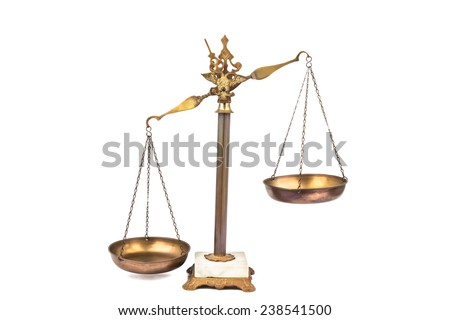 Unbalanced scale, lop-sided to the left. - stock photo