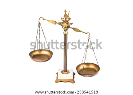 Unbalanced scale, lop-sided to the right. - stock photo