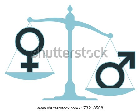 Unbalanced scale with male and female icons showing an inequality between the sexes with the female carrying the most weight - stock photo