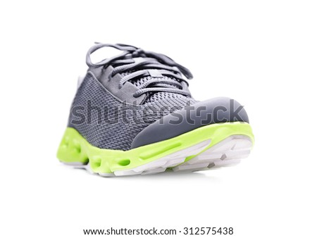 Unbranded running sneaker, shoe or trainer isolated on white. - stock photo