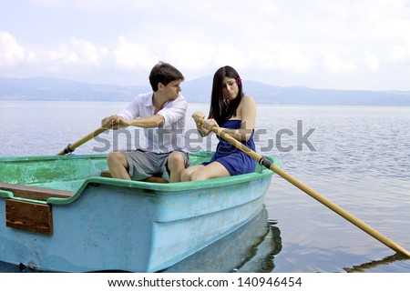 Uncapable woman making husband angry on boat