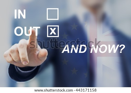 Uncertainty after United Kingdom voted for leaving the European Union, questions about future of Europe, new negotiations and regulations, and now? - stock photo