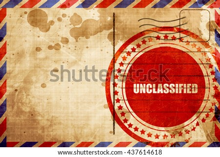 unclassified, red grunge stamp on an airmail background - stock photo