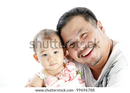 Uncle and little girl - stock photo
