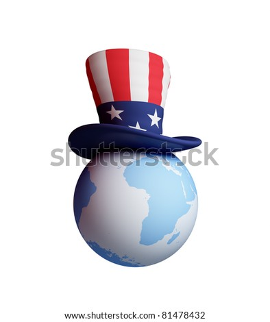 Uncle's Sam hat on a planet Earth. 3d rendered. Isolated on white background. - stock photo