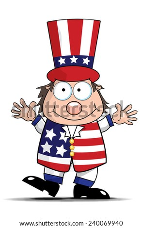 Uncle Sam. A cartoon of the american icon Uncle sam. This is a cartoon man dressed in the american stars and stripes. - stock photo