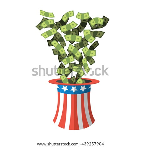 Uncle Sam hat and money. American Cap for independence day. Cylinder and dollars. Cash drop of header. National Patriotic napper in America - stock photo