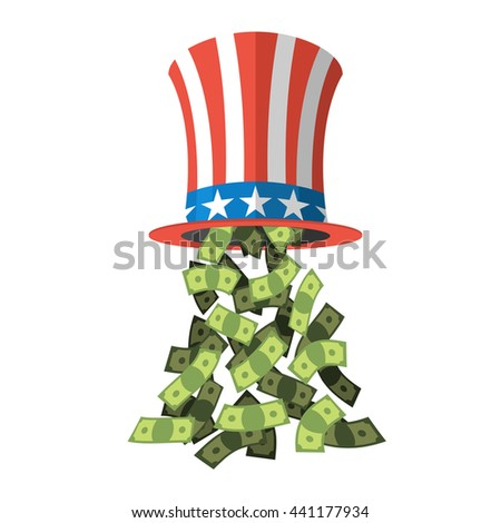 Uncle Sam hat and money. American hat for independence day. Cylinder and dollars.  - stock photo