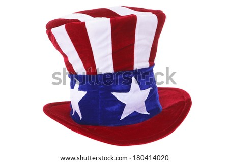 Uncle Sam hat isolated over white background - stock photo