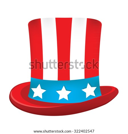 Uncle sam hat raster icon isolated on white, american hat, independence day