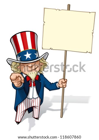 """Uncle Sam """"I Want You"""" Placard - stock photo"""