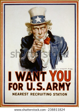 Uncle Sam, 'I Want You' US Army recruiting poster by James Montgomery Flagg, 1917 - stock photo