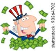 Uncle Sam Playing In A Pile Of Money - stock vector