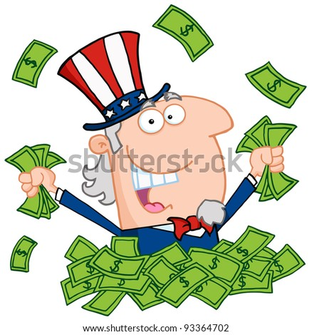 Uncle Sam Playing In A Pile Of Money - stock photo