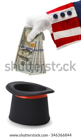 Uncle Sam Pulling Money out of a Magic Hat Isolated on White Background. - stock photo