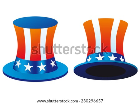 Uncle Sam's hat. Symbol of freedom and liberty. Illustration Isolated on white background