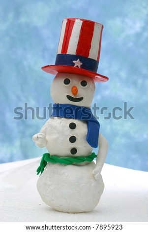 Uncle Sam Snowman - stock photo