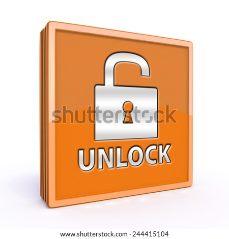 Unclock square icon on white background
