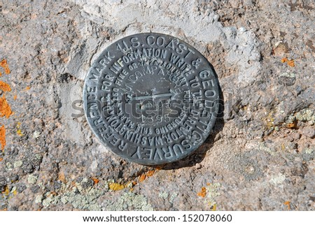 Uncompahgre Peak USGS Summit Marker, Rocky Mountains, Colorado - stock photo
