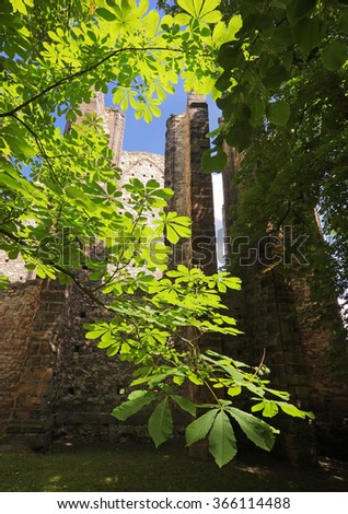 Uncompleted gothic church in Panensky Tynec with a very strong positive energy - Czech republic  - stock photo