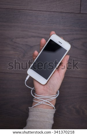 Uncontrolled addiction to smart phones and social networks - stock photo