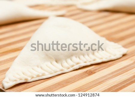 uncooked apple turnover just before baking - stock photo