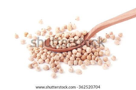 Uncooked chickpeas in wooden spoon isolated on white background - stock photo