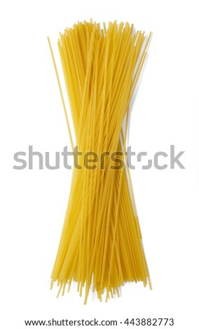 Uncooked dry spaghetti isolated on a white background