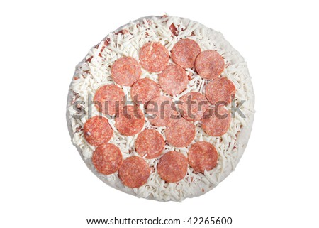 uncooked frozen pepperoni pizza isolated on white background - stock photo