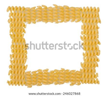 Uncooked italian pasta frame on white background - stock photo