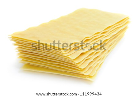 Uncooked lasagna pasta isolated on white background - stock photo