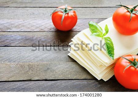 uncooked lasagna sheets, food closeup - stock photo