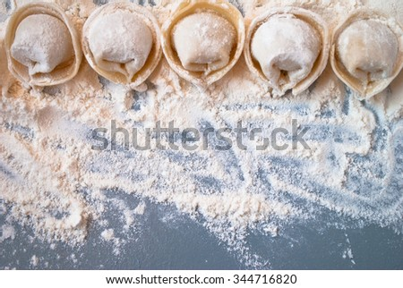 Uncooked meat dumplings lies on a flour and gray table - stock photo