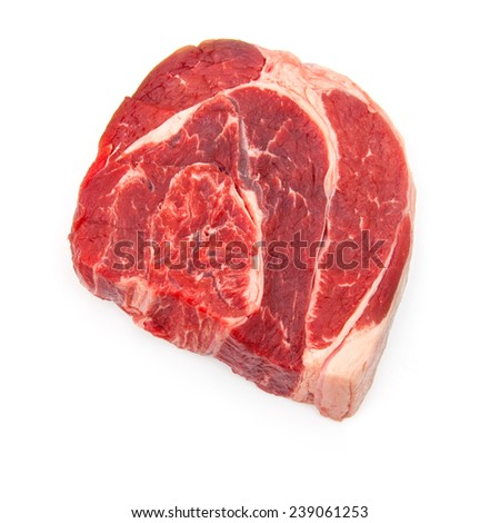 Uncooked organic shin of beef meat isolated on a white studio background,