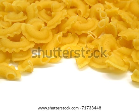 uncooked pasta on a white background