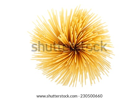Uncooked pasta spaghetti macaroni isolated on white background - stock photo