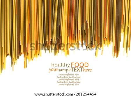 Uncooked pasta spaghetti macaroni, isolated on white background - stock photo