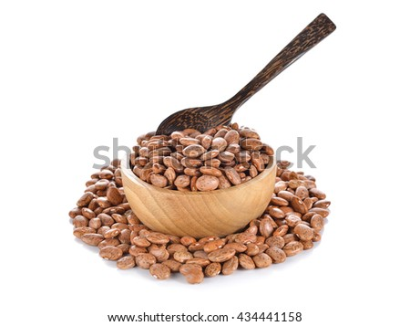 uncooked pinto beans in wooden bowl on white background - stock photo