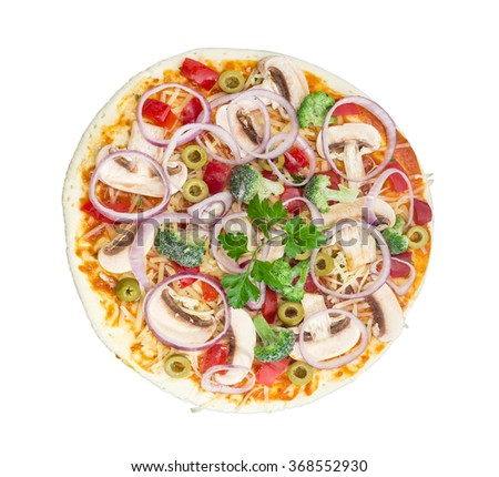Uncooked round pizza with vegetables, button mushrooms and olives on a light background