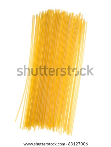 uncooked spaghetti noodles isolated on a white background. - stock photo