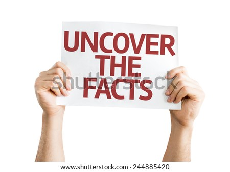 Uncover the Facts card isolated on white background - stock photo